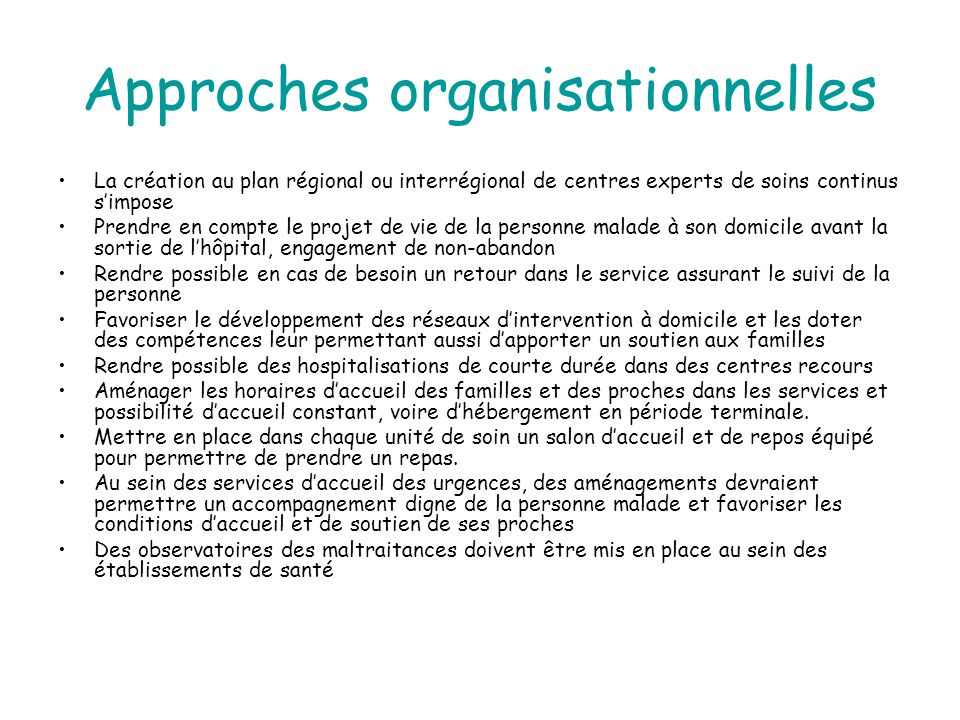 Approches organisationnelles