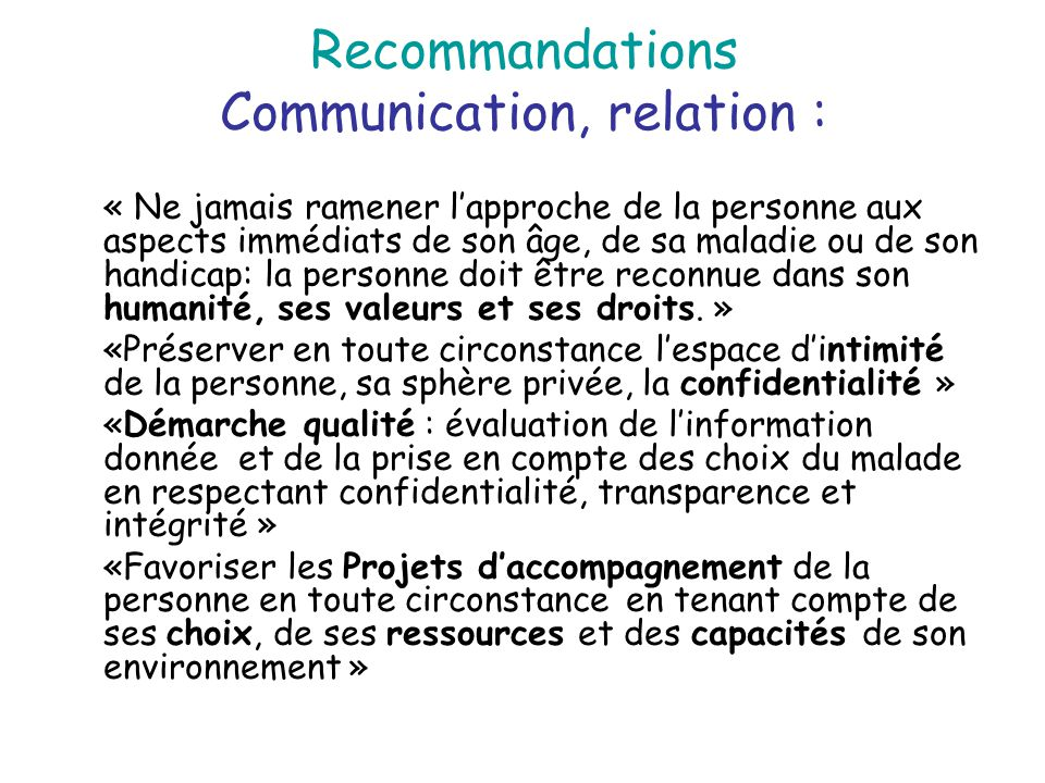 Recommandations Communication, relation :