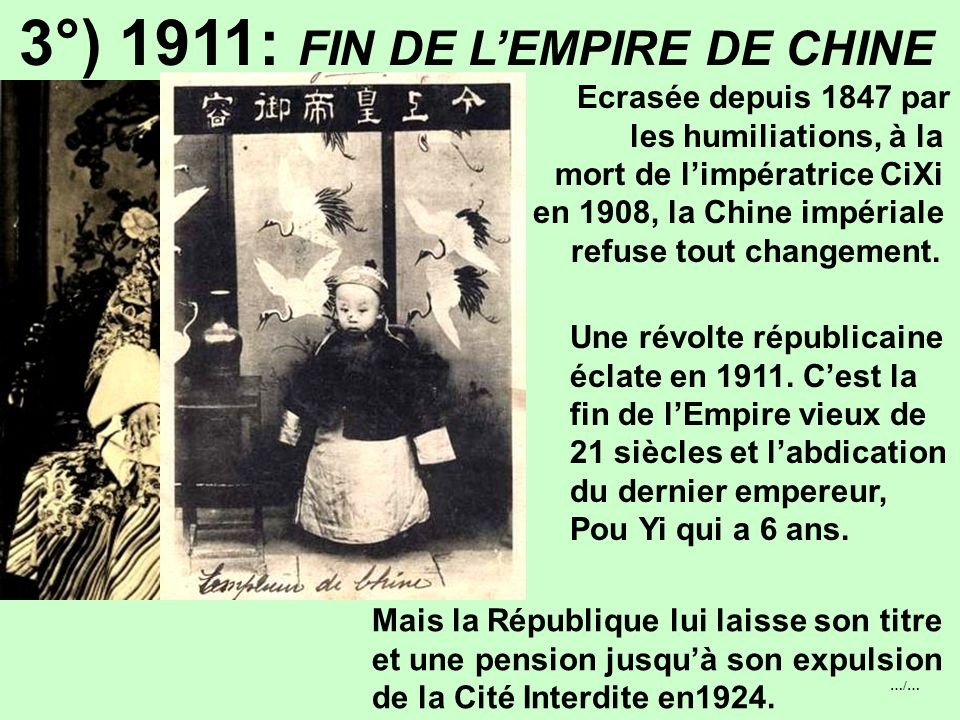 3°) 1911: FIN DE L'EMPIRE DE CHINE
