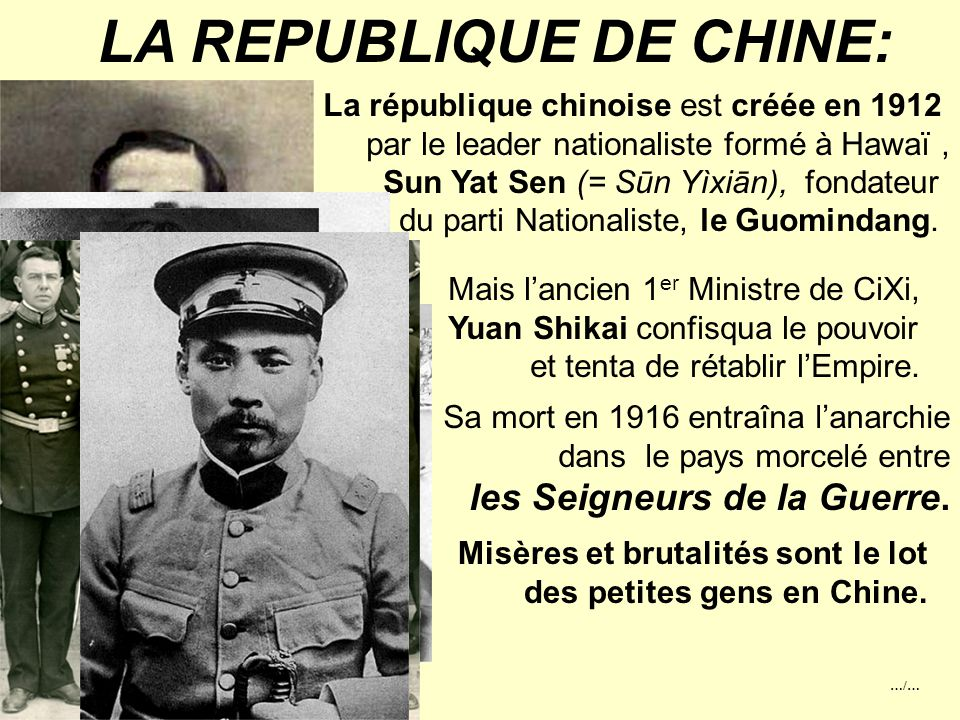 LA REPUBLIQUE DE CHINE: