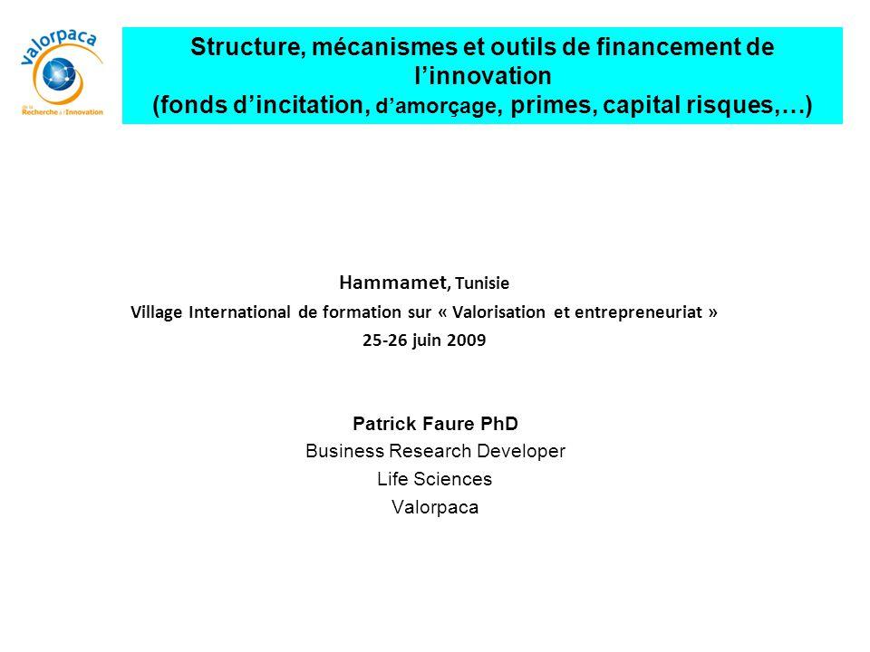 Structure, mécanismes et outils de financement de l'innovation