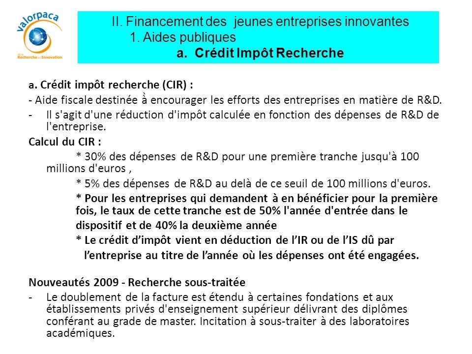 II. Financement des jeunes entreprises innovantes 1. Aides publiques