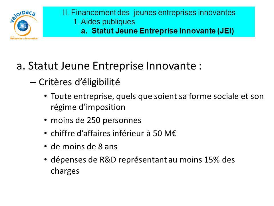 a. Statut Jeune Entreprise Innovante :