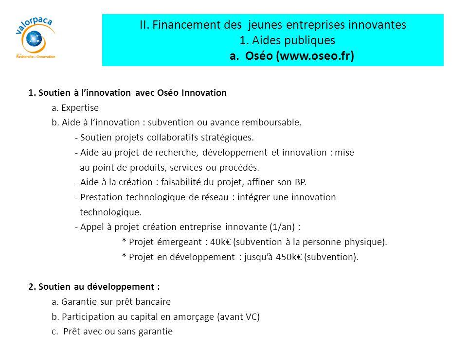II. Financement des jeunes entreprises innovantes 1. Aides publiques a