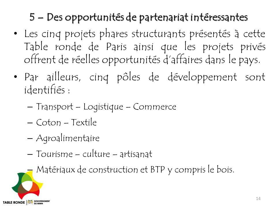 5 – Des opportunités de partenariat intéressantes