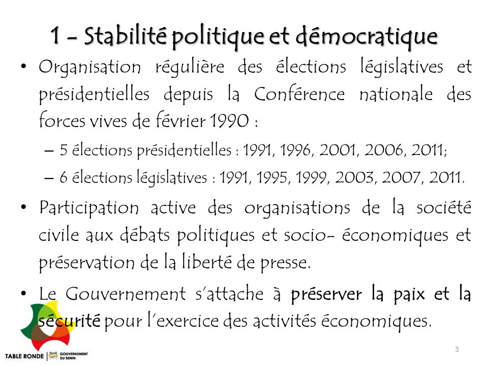 1 - Stabilité politique et démocratique