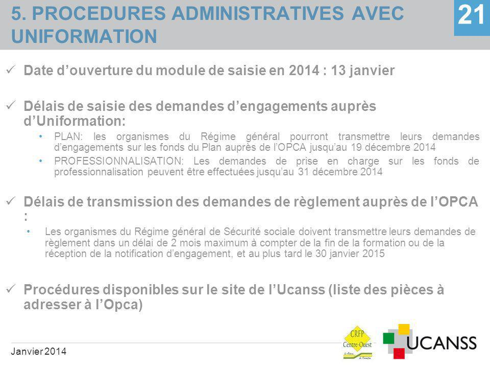 5. PROCEDURES ADMINISTRATIVES AVEC UNIFORMATION