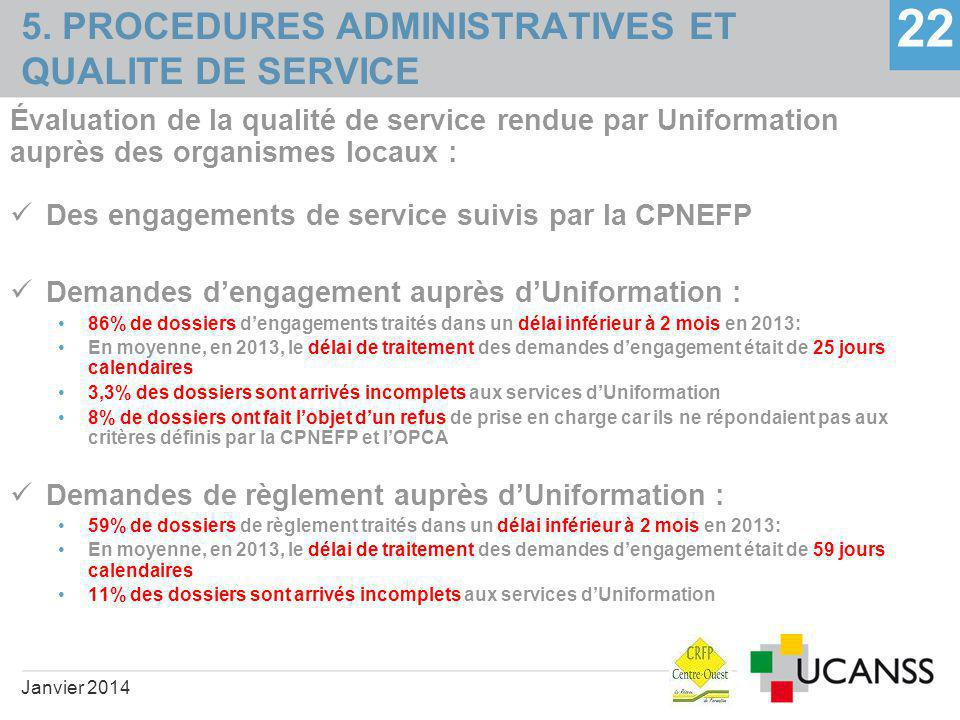 5. PROCEDURES ADMINISTRATIVES ET QUALITE DE SERVICE