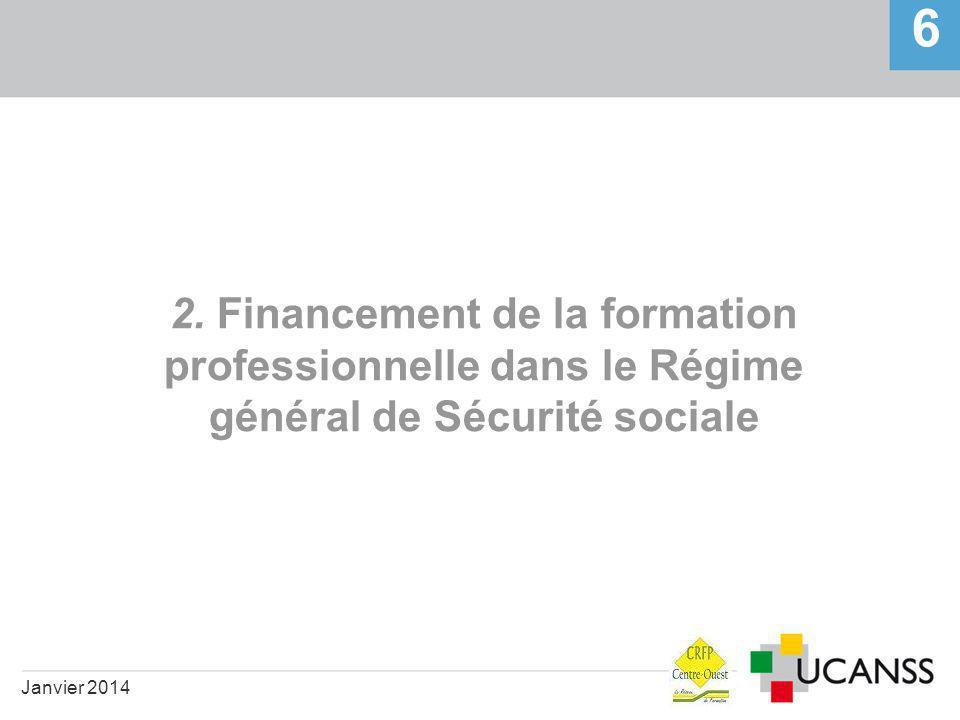 2. Financement de la formation professionnelle dans le Régime général de Sécurité sociale