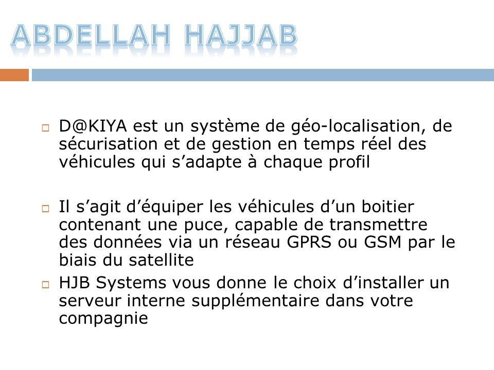 ABdellah Hajjab D@KIYA est un système de géo-localisation, de sécurisation et de gestion en temps réel des véhicules qui s'adapte à chaque profil.