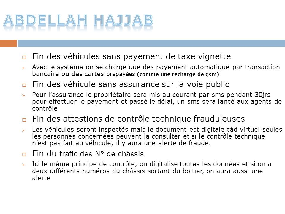 Abdellah Hajjab Fin des véhicules sans payement de taxe vignette