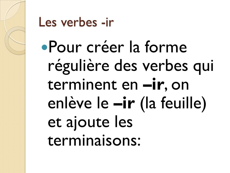 Les verbes -ir Pour créer la forme régulière des verbes qui terminent en –ir, on enlève le –ir (la feuille) et ajoute les terminaisons: