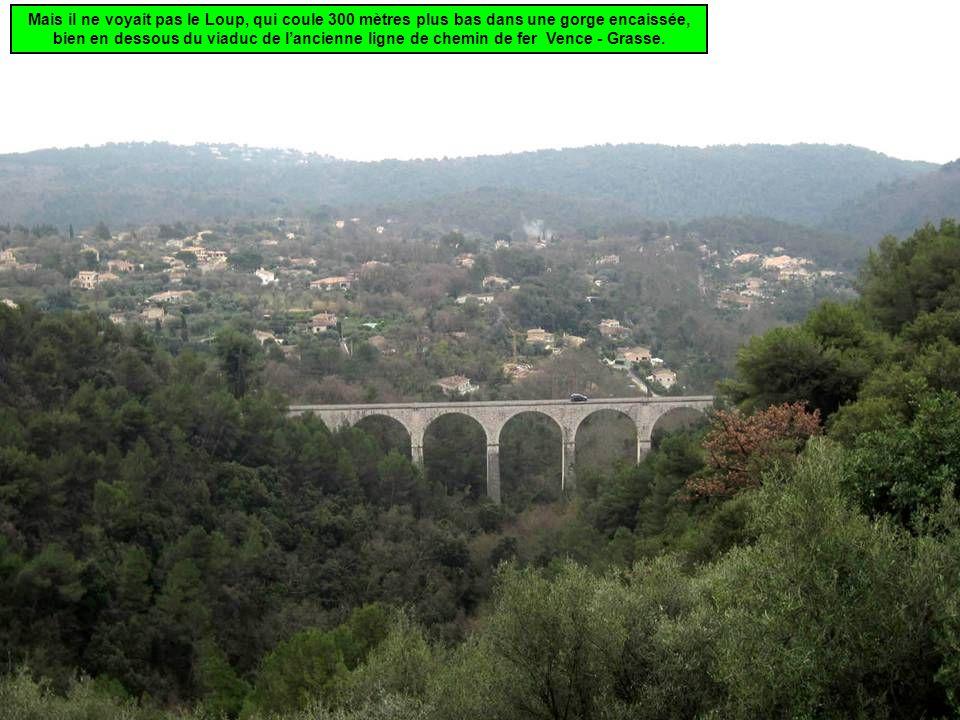 Mais il ne voyait pas le Loup, qui coule 300 mètres plus bas dans une gorge encaissée, bien en dessous du viaduc de l'ancienne ligne de chemin de fer Vence - Grasse.