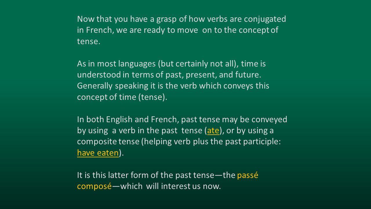 Now that you have a grasp of how verbs are conjugated in French, we are ready to move on to the concept of tense.