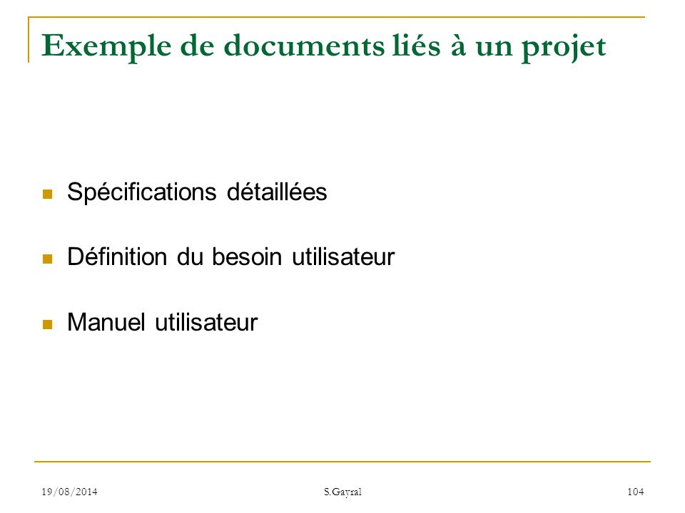 Exemple de documents liés à un projet