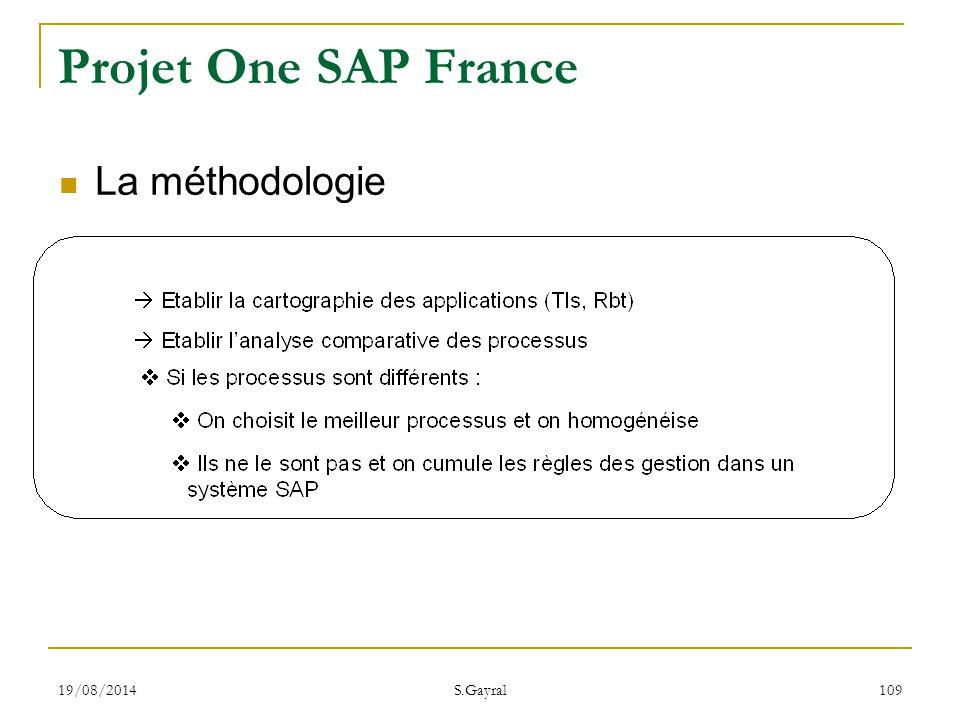 Projet One SAP France La méthodologie 05/04/2017 S.Gayral