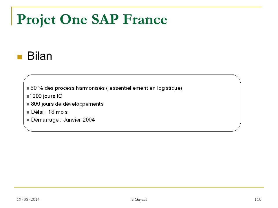 Projet One SAP France Bilan 05/04/2017 S.Gayral