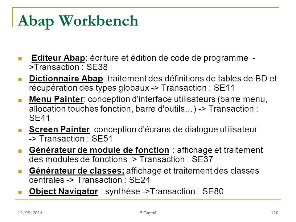 Abap Workbench Editeur Abap: écriture et édition de code de programme ->Transaction : SE38.