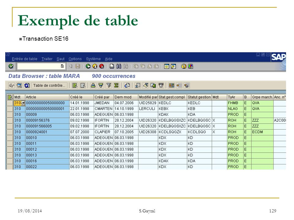 Exemple de table Transaction SE16 05/04/2017 S.Gayral
