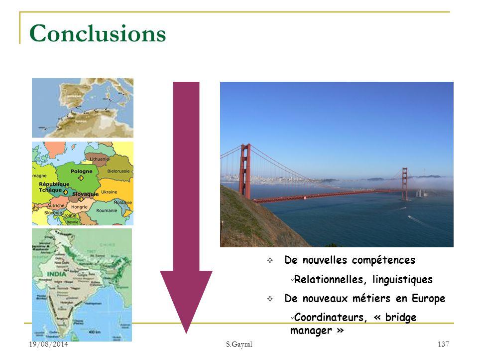 Conclusions De nouvelles compétences Relationnelles, linguistiques