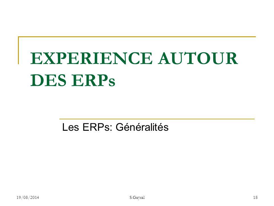 EXPERIENCE AUTOUR DES ERPs