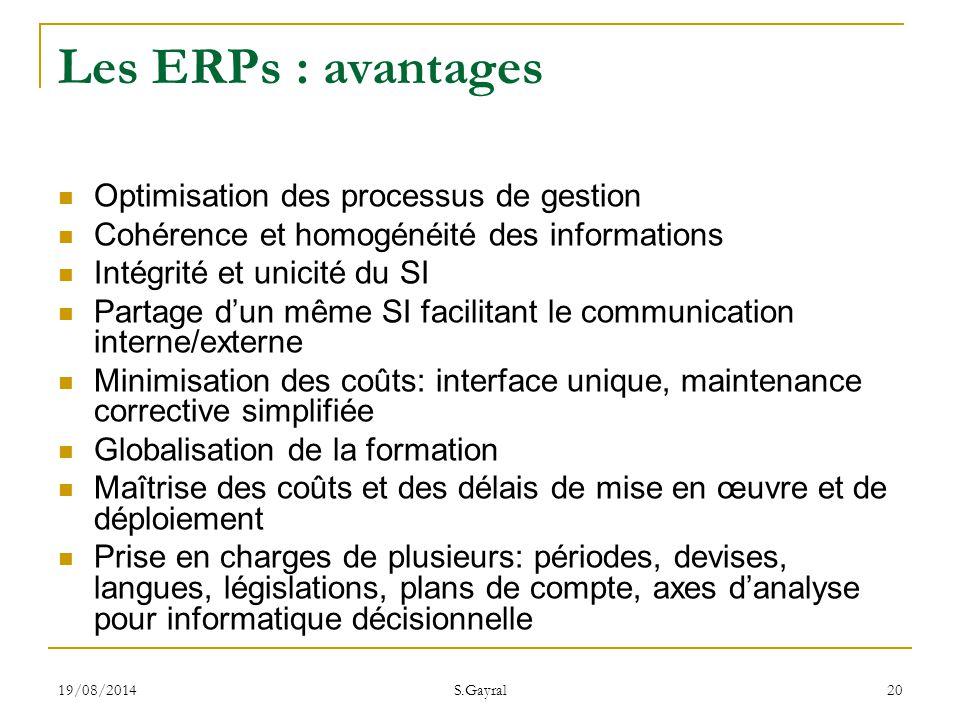 Les ERPs : avantages Optimisation des processus de gestion