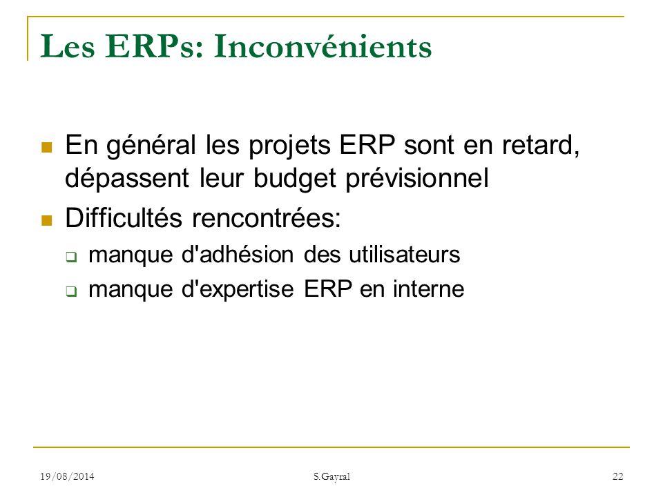 Les ERPs: Inconvénients