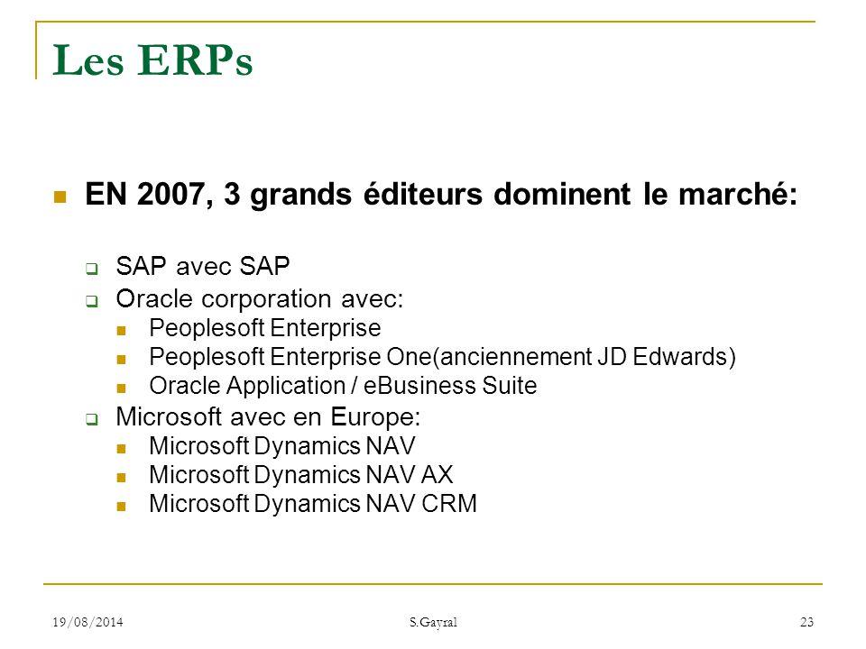 Les ERPs EN 2007, 3 grands éditeurs dominent le marché: SAP avec SAP