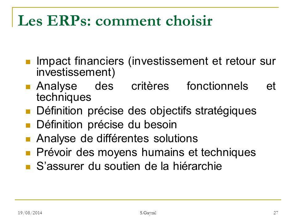 Les ERPs: comment choisir
