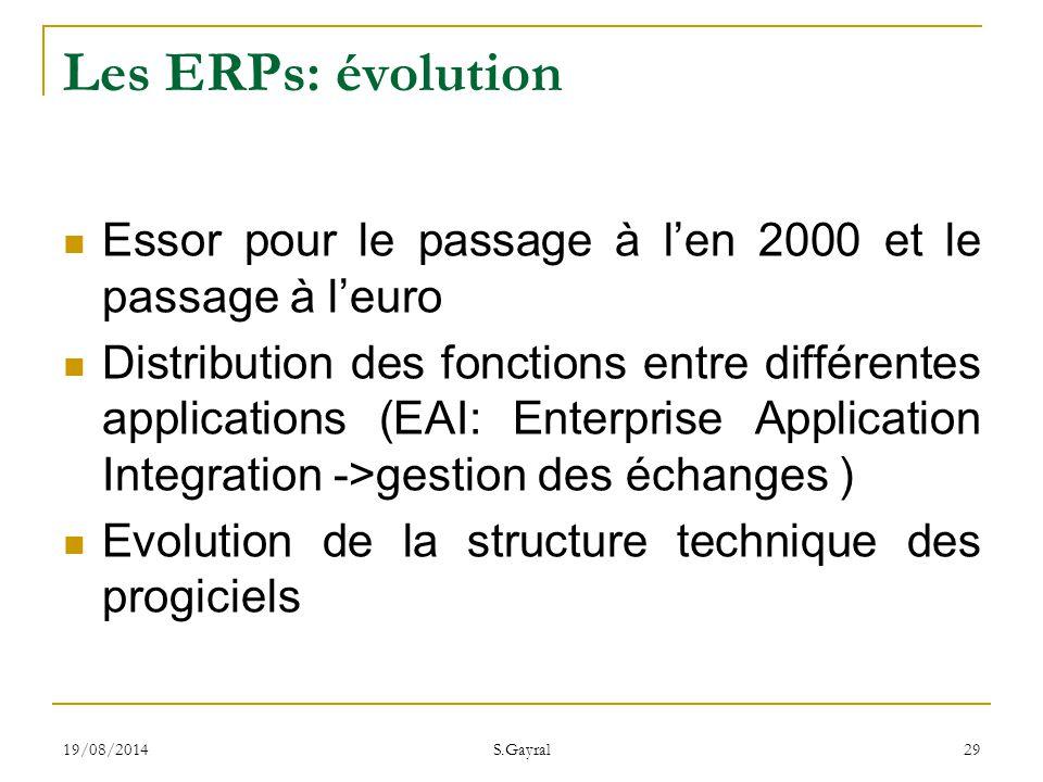 Les ERPs: évolution Essor pour le passage à l'en 2000 et le passage à l'euro.