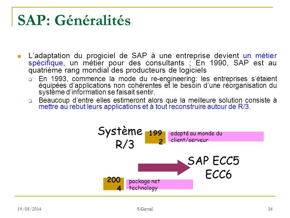 SAP: Généralités Système R/3 SAP ECC5 ECC6