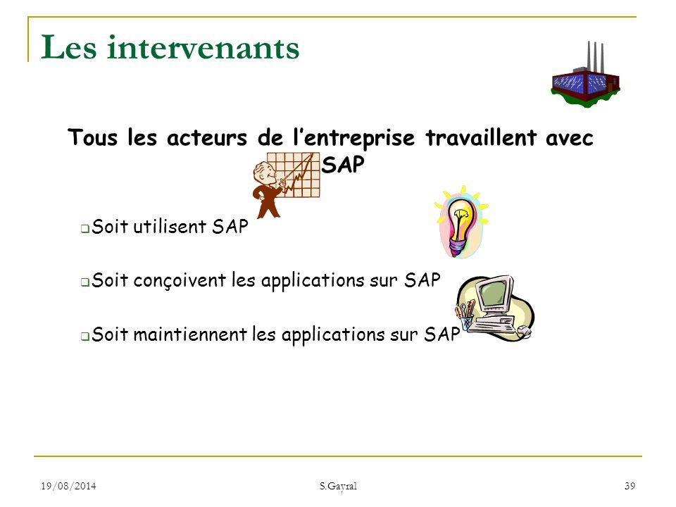 Tous les acteurs de l'entreprise travaillent avec SAP