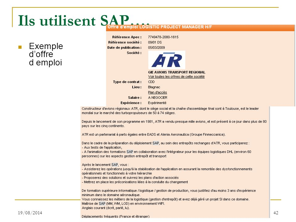 Ils utilisent SAP…. Exemple d'offre d emploi 05/04/2017 S.Gayral