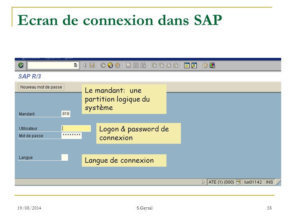 Ecran de connexion dans SAP