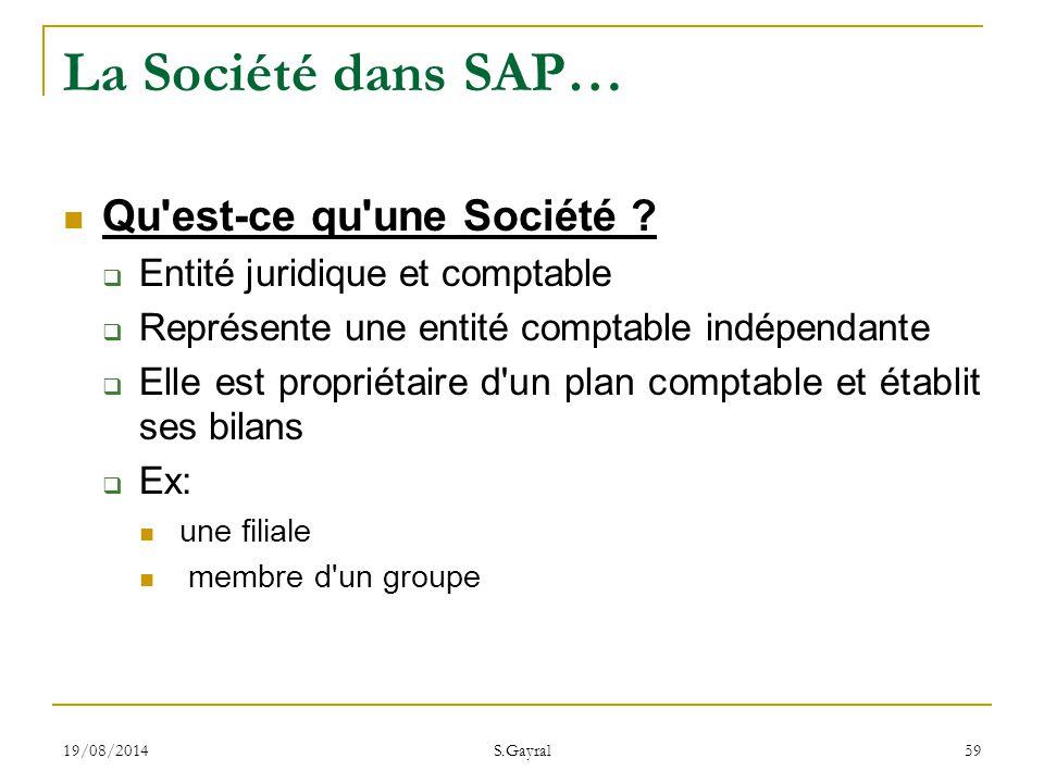 La Société dans SAP… Qu est-ce qu une Société
