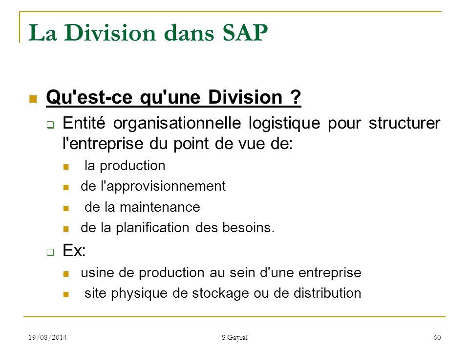 La Division dans SAP Qu est-ce qu une Division