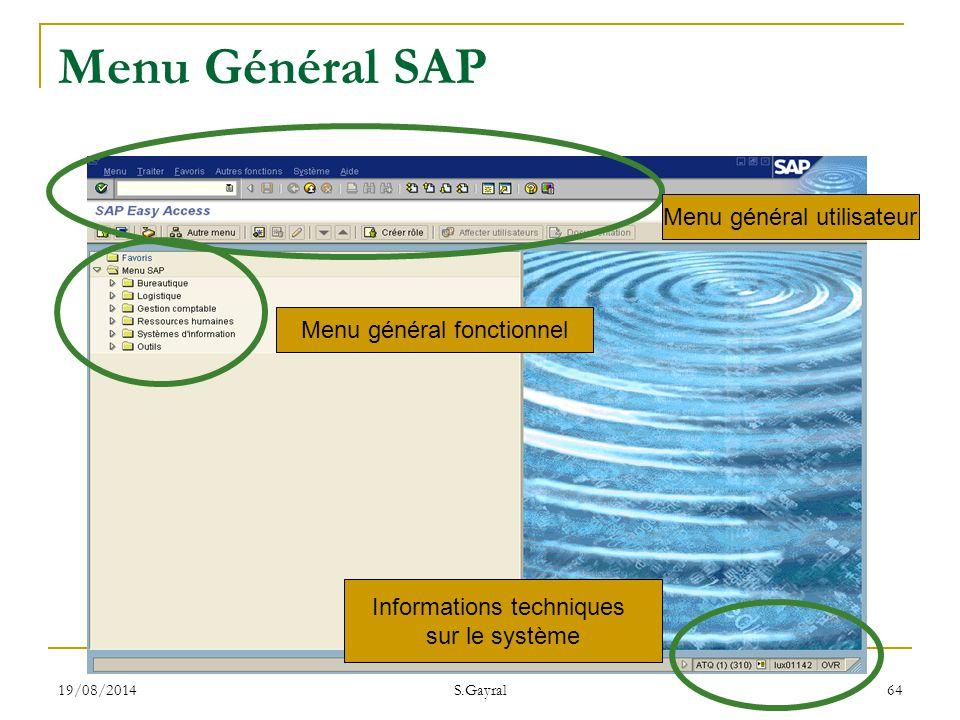 Menu Général SAP Menu général utilisateur Menu général fonctionnel