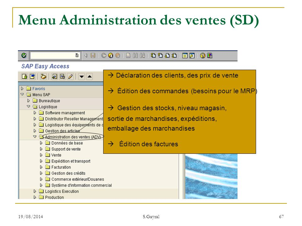 Menu Administration des ventes (SD)