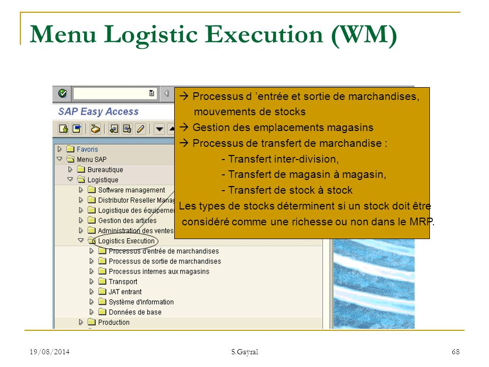Menu Logistic Execution (WM)