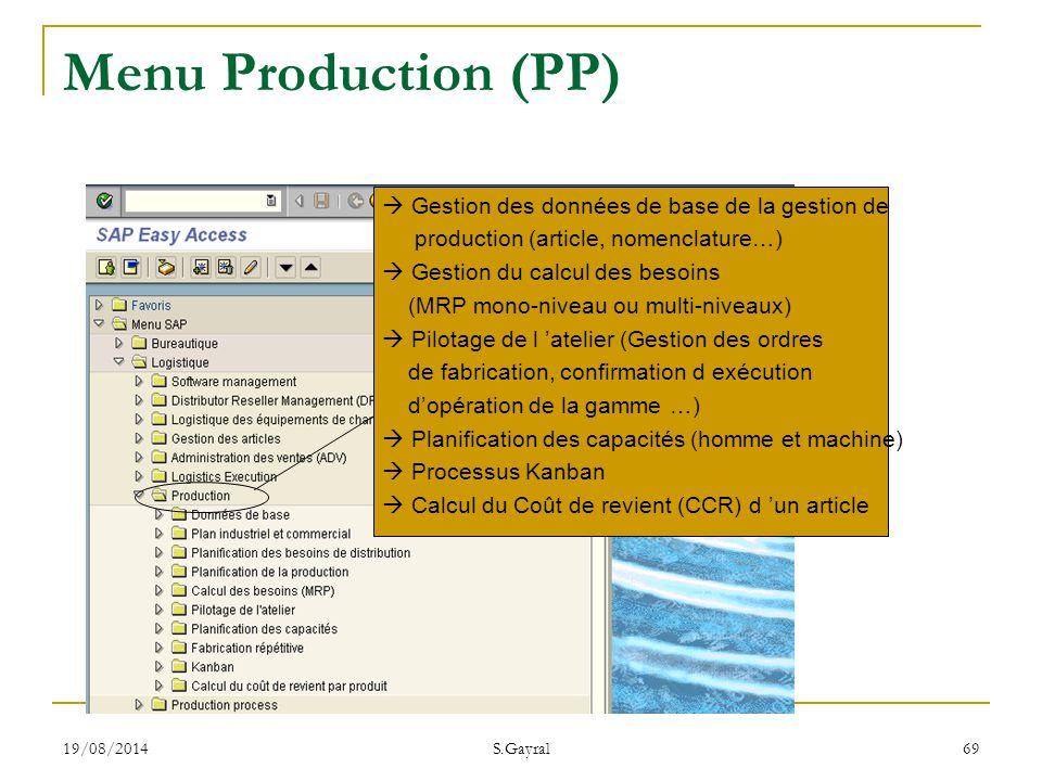 Menu Production (PP)  Gestion des données de base de la gestion de