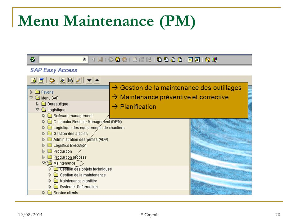 Menu Maintenance (PM)  Gestion de la maintenance des outillages