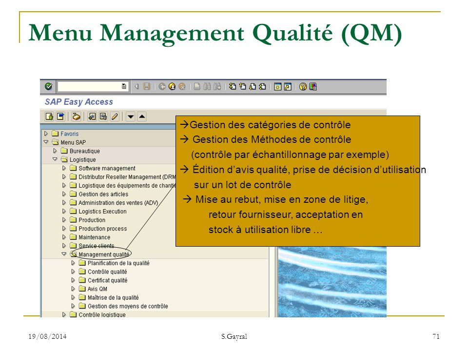 Menu Management Qualité (QM)