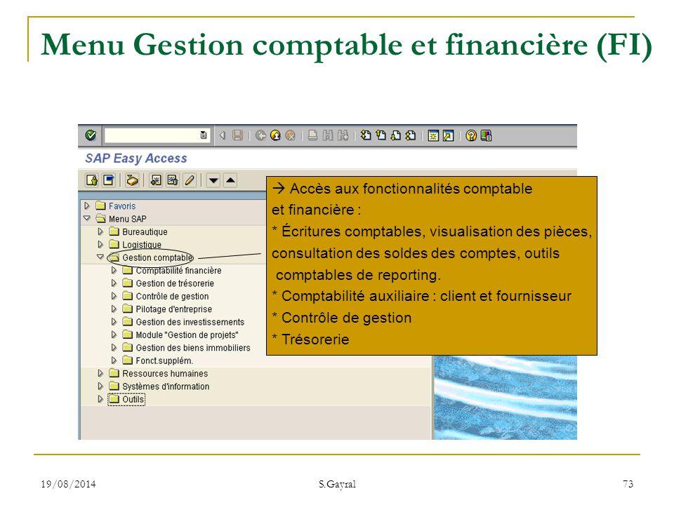 Menu Gestion comptable et financière (FI)