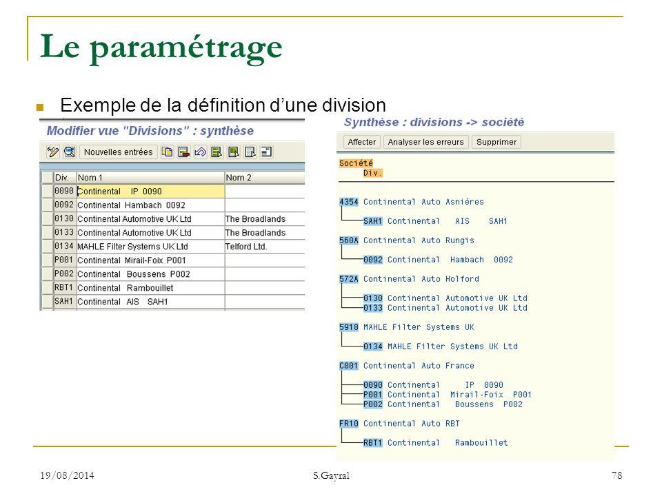 Le paramétrage Exemple de la définition d'une division 05/04/2017
