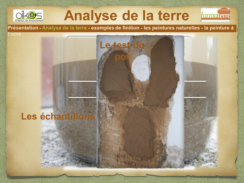 Analyse de la terre Le test du pot Les échantillons