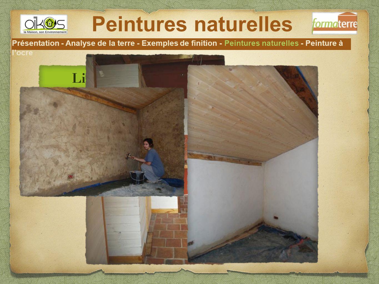 Peintures naturelles Présentation - Analyse de la terre - Exemples de finition - Peintures naturelles - Peinture à l'ocre.