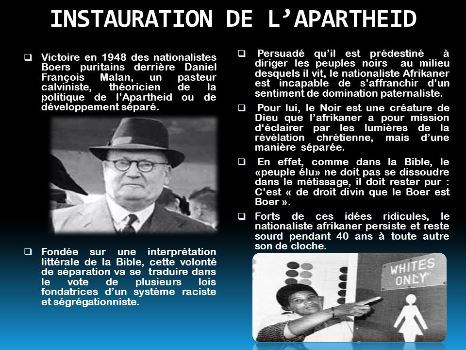 INSTAURATION DE L'APARTHEID