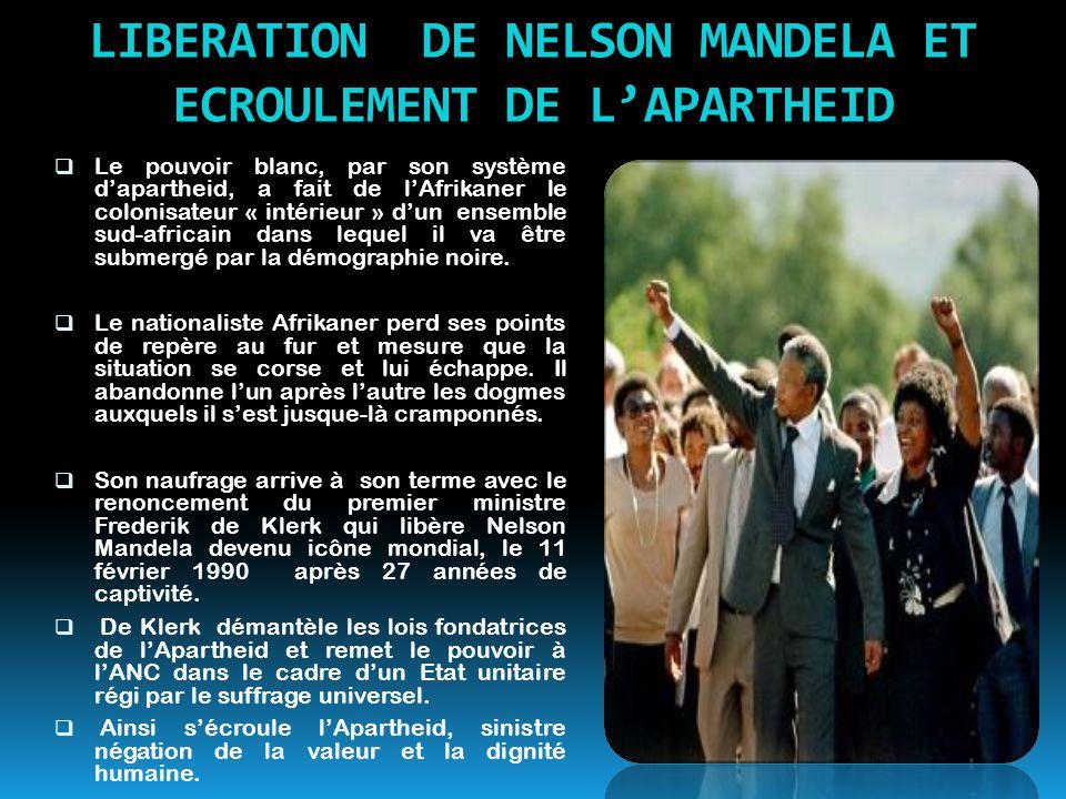 LIBERATION DE NELSON MANDELA ET ECROULEMENT DE L'APARTHEID