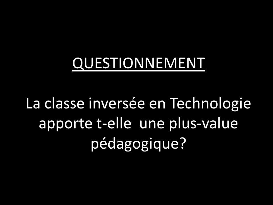 QUESTIONNEMENT La classe inversée en Technologie apporte t-elle une plus-value pédagogique