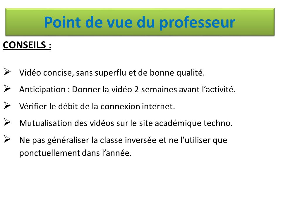 Point de vue du professeur